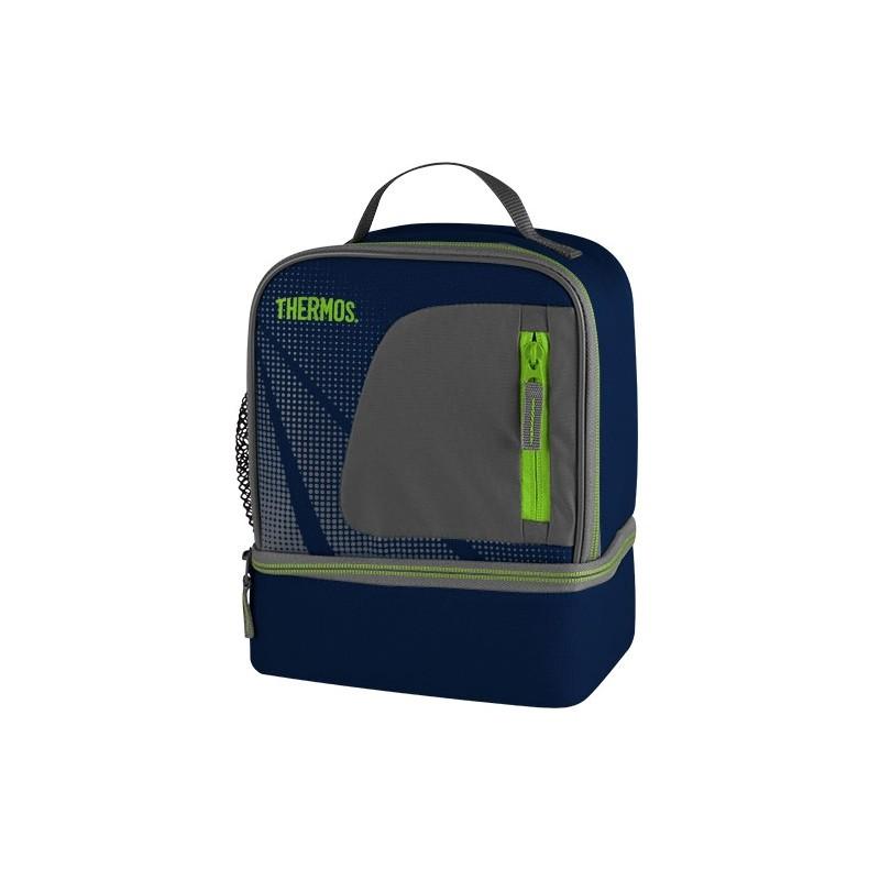 Dwukomorowa torba termiczna – niebieska